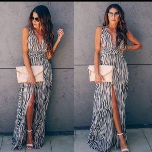 NWOT vici zebra maxi dress